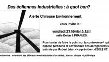 """""""Des éoliennes industrielles: à quoi bon?"""" Conférence animée par Robert Lévy, vice président d'Eole07"""