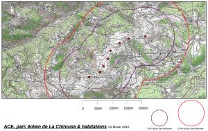 ACE - La carte du projet d'implantation des éoliennes sur la Chirouse et les distances avec les habitations
