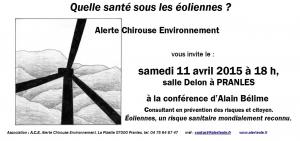 """""""Quelle santé sous les éoliennes?"""", conférence animée par Alain Bélime, consultant en prévention des risques et citoyen"""