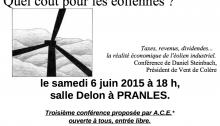 """""""Quel coût pour les éoliennes?"""" - conférence de Daniel Steinbach, président de Vent de Colère"""