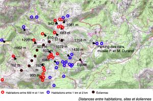 ACE - Carte détaillée des distances entre habitations et éoliennes